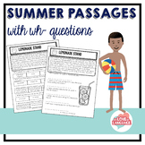 Summer Reading Passages with WH-Questions--Leveled