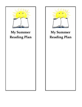 Summer Reading Plan Bookmarks- End of School Year Activity