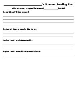 Summer Reading Plan Worksheet