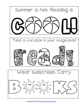 Summer Reading Printable Bookmarks to Color by Library Learners | TpT