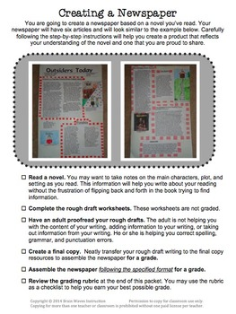 Summer Reading Project - Any Book - Creating a Newspaper
