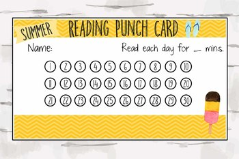 Summer Reading Punch Card, Reward Chart, Reward Card, Summer Reading