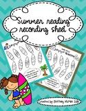 Summer Reading Recording Sheet