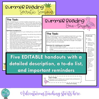 Summer Reading Resources:  Assessments, Posters, and Activities {Grades 6-12}