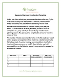 Summer Reading Suggestions- Activity Template