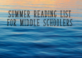 Summer Reading Suggestions for Middle School
