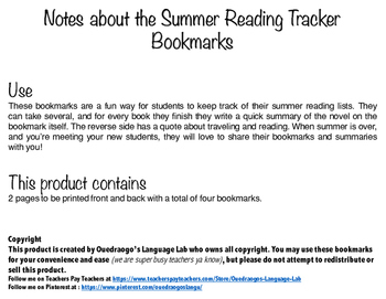 Summer Reading Tracker Bookmarks