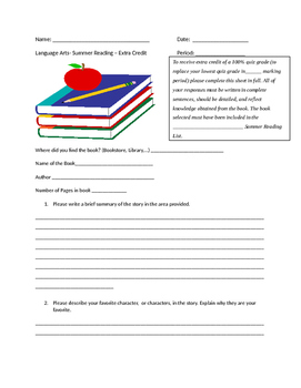 Summer Reading Worksheet