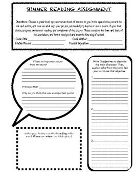 Summer Reading Worksheet
