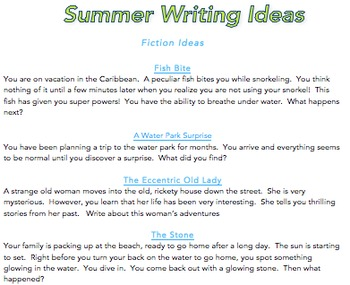Summer Reading & Writing Ideas