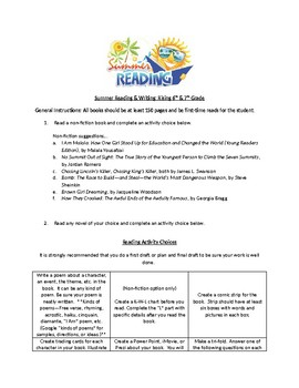 Summer Reading & Writing Project Directions