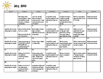 Summer Reading, Writing, and Math Calendar