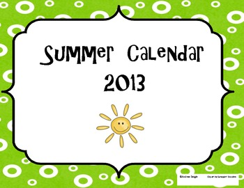 Summer Reading, Writing, and Math Calendar