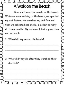 Summer Reading and Comprehension Packet for 1st Graders going into 2nd Grade
