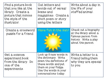 Summer Reading and Writing BINGO