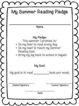 Summer Reading and Writing Goals