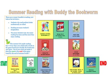 Summer Reading with Buddy the Bookworm Game Board (editable)
