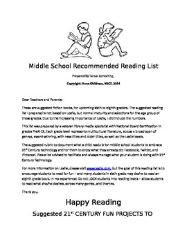 Summer Recommended Middle School Reading List