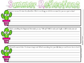 Summer Reflections Writing