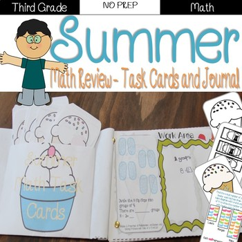Summer Review: 3rd Grade Task Cards and Journal (Math)