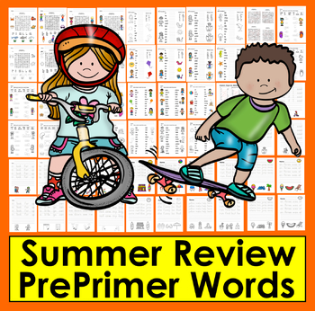 Summer Review: 48 Pre-Primer Sight Words Activities - 28 Cards - Summer School!