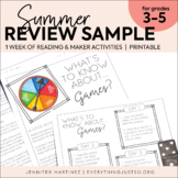 Summer Review Activities   Summer Maker   Summer Activitie