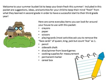 Summer Review Activity Packet for Second Grade