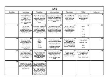 Summer Review Calendar- 1st Grade