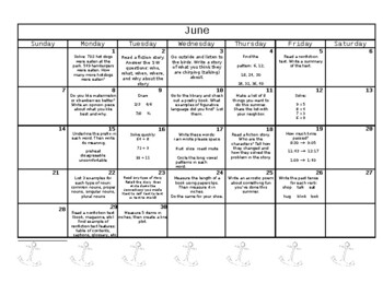 Summer Review Calendar 3rd Grade