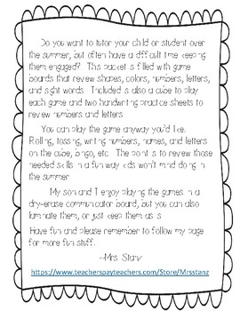 Summer Review Games for Preschool