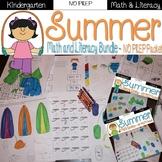 Kindergarten Summer Review NO PREP bundle {Math & Literacy}