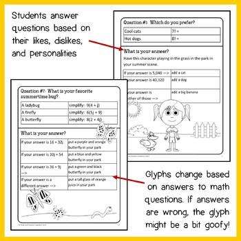 Summer Review Math Goofy Glyph (7th grade Common Core)
