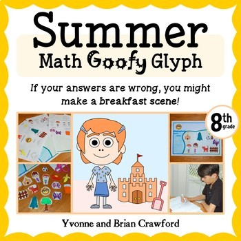 Summer Review Math Goofy Glyph (8th grade Common Core)