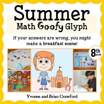 Summer Review Math Goofy Glyph (8th grade Common Core)