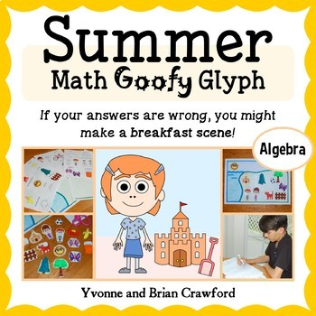 Summer Review Math Goofy Glyph (Algebra Common Core)