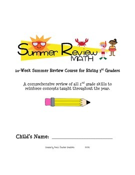 Summer Review Math for Rising 3rd Graders (2nd Grade Standards)