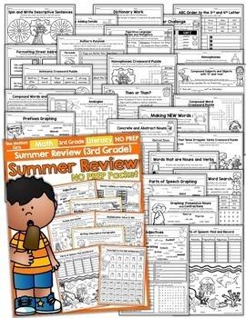 Summer Packet NO PREP Review  (3rd Grade)