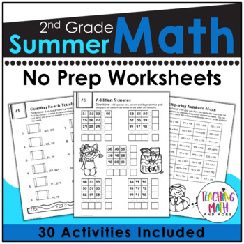 Summer Review NO PREP Math Packet - 2nd to 3rd Grade