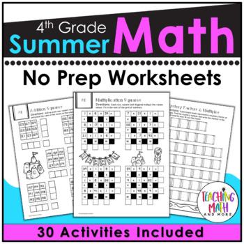 Summer Review NO PREP Math Packet – 4th to 5th Grade
