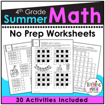 4th Going To 5th Summer Math Packet Worksheets & Teaching