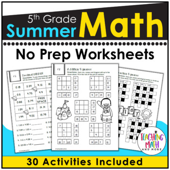 Summer Review NO PREP Math Packet – 5th to 6th Grade