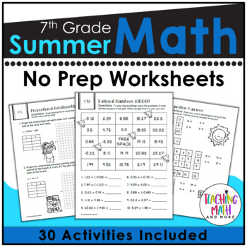 Summer Review NO PREP Math Packet – 7th to 8th Grade