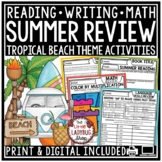 Digital ELA Reading & Writing Prompts Summer Review Packet 3rd, 4th Grade
