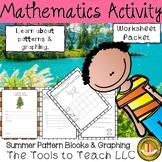 Summer Review Pattern Blocks Graphing Math Worksheet Activity Packet No Prep