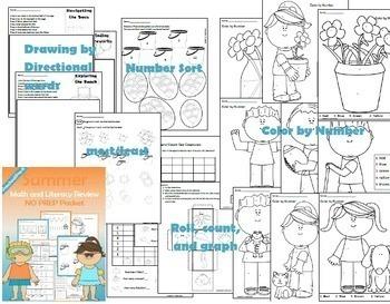 Summer Review: PreK / Preschool NO PREP (Math & Literacy)