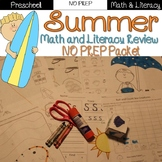 Summer Review: PreK / Preschool NO PREP (Math & Literacy)