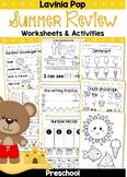 Summer Review Preschool No Prep Worksheets & Activities