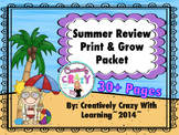 End of Year Print and Grow Summer Review Packet 30+ Pages