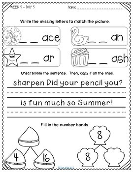 Summer Review for Kindergarten and First Grade {July}