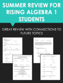Summer Review for Upcoming Algebra 1 Students